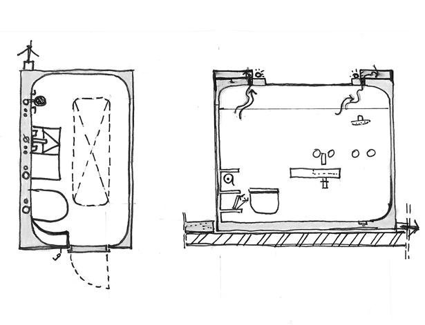 polyester-capsule-sanitair-schets-douche-vooraanzicht-atelier-Cadix